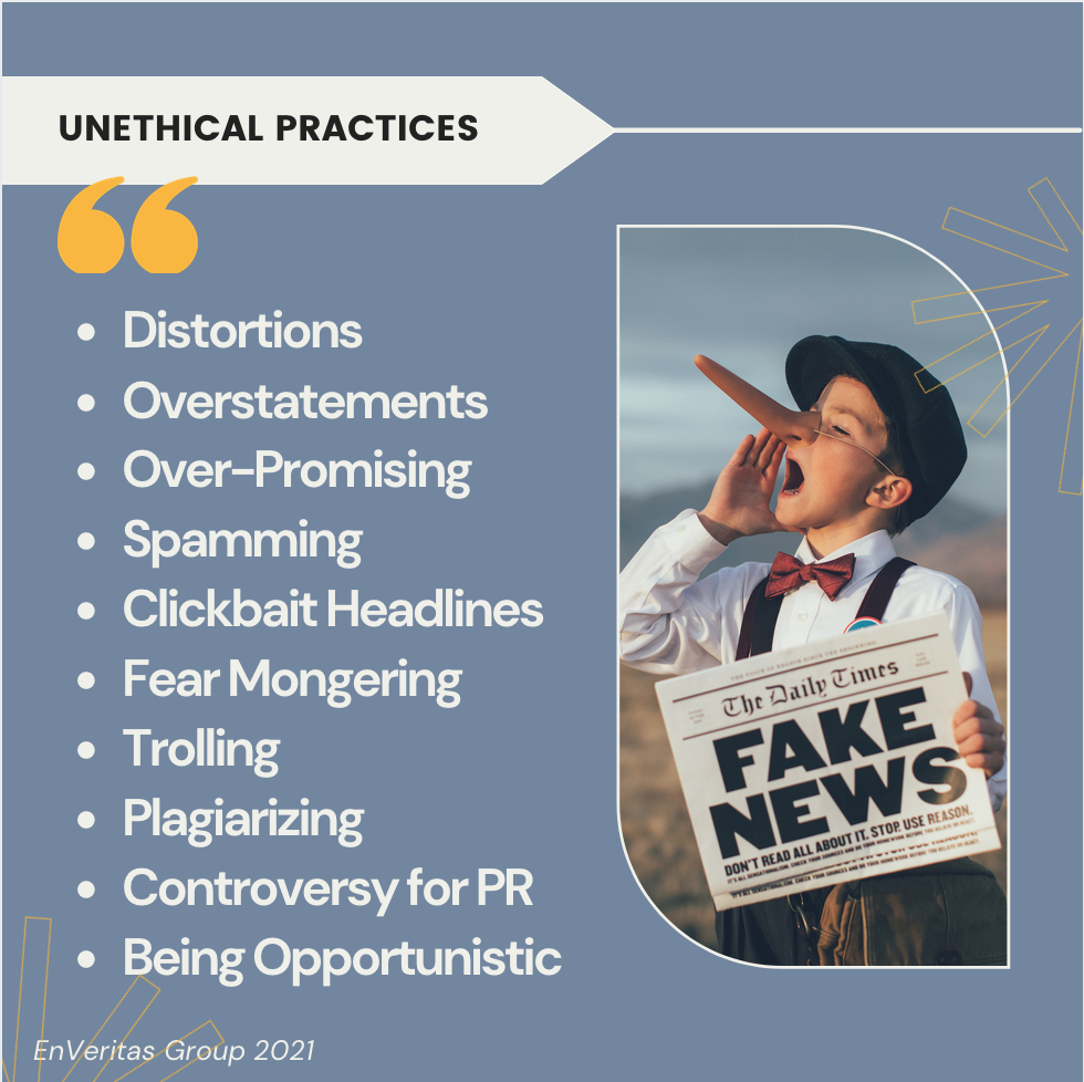 list of unethical content marketing practices