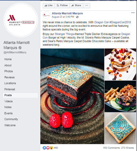 Social Media Post by the Marriott Marquis Atlanta advertising their themed desserts for DragonCon.